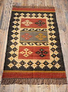Beautiful Traditional Rustic Fair Trade Hand Made Jute Wool Kilim Rug 175 x 120