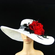 Derby Hat church hat dress hat church hat with feathers lace band wide brim
