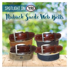 51358432a1d241 Spotlight on Nubuck Suede Web Belts. Leather on a web backing finished with  a tumbled