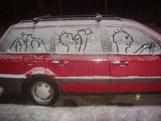 Humorous roundup of funny cartoons and pictures about snow by Gina Valley; humor in snow situations