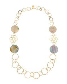 Round Chalcedony Multi-Circle Necklace, Sea Foam by Devon Leigh at Neiman Marcus.
