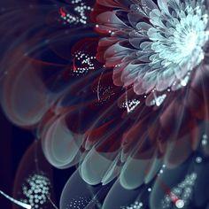 デジタルアートの一種であるフラクタルアート。 Silvia Cordedda氏によるフラクタルアートを用いて作られた花のデザイン。 透明感のある色使いと立体感がとても美しいですね。 夢の中の世界のような幻想的な感じがとても素敵だなと思いました。 いつまでも魅入ってしまう、とても美しいアートです。 》》》》》》♡《《《《《《  look on comment for translation