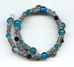 memory wire beaded bracelets | ... crackle beads to create bbj 106 1 memory wire bracelet beads baubles