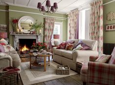 Cottage Style Living Rooms cottage room with amaryllis bulbs on the mantel | living rooms