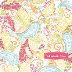 pink, blue and yellow paisley