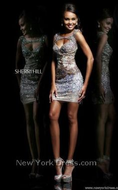 Purple Silver Sequin Dress Sherri Hill 9704 - NewYorkDress.com