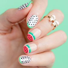 Cute Watermelon nail art: http://sonailicious.com/watermelon-nails-sophia-webster/