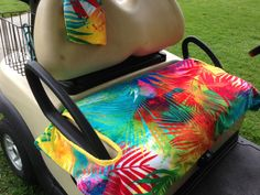 Rainbow Palm Golf Cart Seat Cover with matching Golf Towel