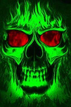 ☮ American Hippie Skull Art ~ green skulls on fire