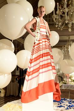 Designer: Stacey BendetWhat: alice + olivia SS15 Presentation at The Pierre HotelInspiration: A trip to VersaillesTrends: Embellishment, stripes, print play, whimsical dresses, wide-leg...