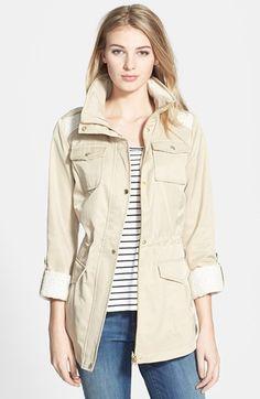 Raincoat - GUESS Tweed Detail Roll Sleeve Anorak | Nordstrom (Small Khaki)