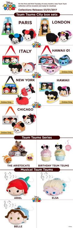 Disney is starting 2017 out with a bang! Check out the city-exclusive Tsum Tsum box sets coming out in Paris, London, Italy, Hawaii, New York, and Chicago!
