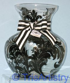 Large  Hand Painted  Black  Brocade  Glass Vase  by TrisArtistry