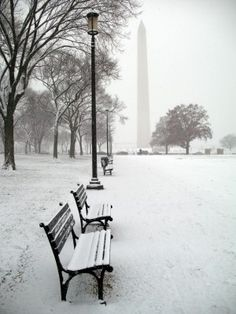 What a lovely view -- Washington Monument in snow, Washington, DC