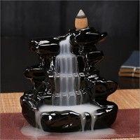 Wish | Black Waterfall Porcelain Backflow Ceramic Incense Burner Incense Holder Buddhist Cones Home Bedroom Decor