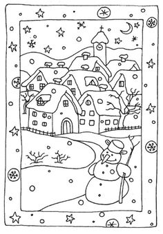 Free Winter Coloring Pages Snowy Houses