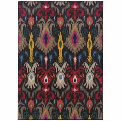 Kaleidoscope Grey Multi Abstract Floral Transitional Rug