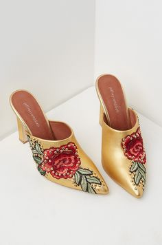 Jeffrey Campbell Embroidered Mules in Gold