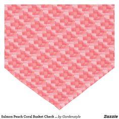 Salmon Peach Coral Basket Check Table Runner 14x72