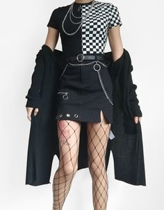 Grunge / Goth / Alternative Fashion Inspiration Grunge Ninja Cosmico Collaboration ~ Irregular High Waist Skirt with Ring Chain Fashion Mode, Dark Fashion, Grunge Fashion, Korean Fashion, Womens Fashion, Gothic Fashion, Grunge Outfits, Edgy Outfits, Girl Outfits