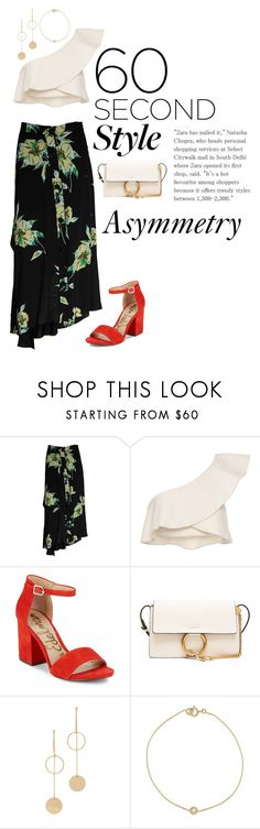 """Asymmetry"" by dani-mitchell ❤ liked on Polyvore featuring Isabel Marant, Sam Edelman, Chloé, Cloverpost, asymmetricskirts and 60secondstyle"