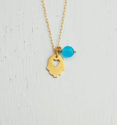 Heart hamsa necklace