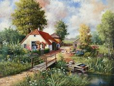 Cottage farm Canvas Art - Peter Motz x Cottage In The Woods, Cottage Art, Painted Cottage, Watercolor Landscape, Landscape Art, Landscape Paintings, Watercolor Paintings, Farm Canvas Art, Pintura Exterior