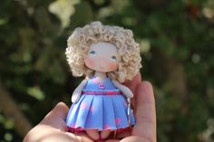 This tiny dollhouse collectible miniature rag doll is 3,15 inches (8 cm) high only, it comes in hand! The small fabric doll is perfect for dollhouse 1/12 scale Fun gift for your mom or daughter