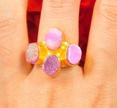 20 Carat. Gold Plated Pink Sugar Druzy  Ring Size -8.75  Jewelry NJ1294 #Handmade
