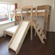 Bunk Bed With Trundle, Twin Bunk Beds, Boy And Girl Shared Bedroom, Kids Bedroom, Tree House Bunk Bed, Toddler Bed With Slide, Playhouse Loft Bed, Diy Kids Furniture, Toddler Playroom