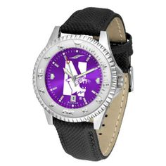 """Northwestern Wildcats NCAA Anochrome """"Competitor"""" Mens Watch (Poly/Leather Band) by SunTime. $84.59. Color Coordinated. Rotating Bezel. Calendar Date Function. Showcase The Hottest Design In Watches Today! A Functional Rotating Bezel Is Color Coordinated To Highlight Your Favorite Team Logo. A Durable, Long Lasting Combination Nylon/Leather Strap, Together With A Calendar Date, Round Out This Best Selling Timepiece. The Anochrome dial option increases the visual impact..."""