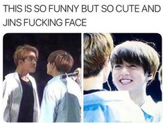 It looks like Jungkook is that annoying cute kid who won't leave you alone so Jin makes that face to try to make him go away, but it has the opposite affect. Bts Namjoon, Bts Jin, Bts Bangtan Boy, Bts Jungkook, K Pop, Bts Memes Hilarious, Bts Tweet, Wattpad, About Bts