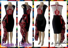 Knee length fitted Swati dress in red black and white. With a hip frill. Traditional Wedding Dresses, Traditional Outfits, African Print Fashion, African Prints, African Dress, I Dress, Red Black, Dress Making, Fashion Dresses