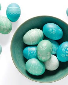 This Easter, take hard-boiled eggs to new heights by embellishing them  with lacy patterns. Once the eggs are dyed and dry, pile them in a large  bowl to use them as a centerpiece.