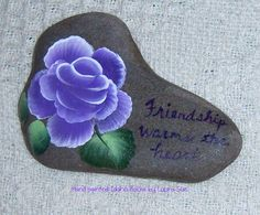 Hand painted Idaho Rock Paper Weight-Purple rose-Friendship Warms the Heart