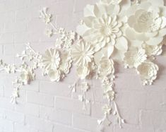 Handmade Three Colour Paper Flower Wall Display by comeuppance