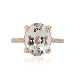 Rustic Rose Gold Engagement Ring With Oval Morganite And Diamonds LS4784 Laurie Sarah Designs #rustic #rosegold #engagementring #oval #morganite #diamond