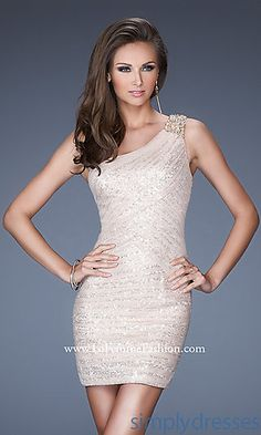 Short One Shoulder Sequin Dress with Natural Waistline and Embellished Strap. Style 19068