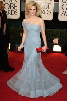 Drew Barrymore, in Dior Haute Couture with a Roger Vivier clutch.