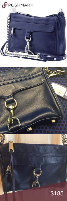 """Rebecca Minkoff mini MAC crossbody blue silver Rebecca Minkoff mini MAC crossbody clutch - royal blue with silver hardware. This was used a handful of times and is in excellent condition - no noticeable flaws found. It can be a crossbody (21"""" strap), a shoulder bag (14"""" strap), or as a clutch (strap removed). Includes dust bag and price tag. Measures 9"""" x 6.5"""" x 1.5."""" Non-smoking, non-trading home...but there is a Husky that gets a hair or two on every item.  ❌no trades - no low balls❌…"""