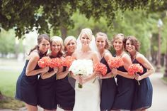 Navy and Coral Wedding