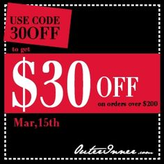 Use code 30OFF to get USD30 off on orders over USD200 till Mar, 15th, 2012