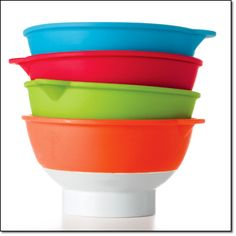"""Set of 4 Prep and Pour Bowls Measurement markings inside these bowls make prepping easy. Dishwasher-safe. Each, 2 1/2"""" diam. x 2 3/4"""" H. Plastic and silicone. Imported. http://jgoertzen.avonrepresentative.com/"""