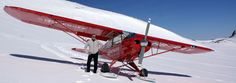 Walter und die Wenger Piper Super Cub im Vorab Skigebiet