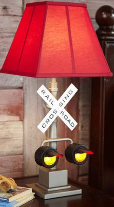 Cute decor for your child's room: Pottery Barn Kids railroad crossing lamp, $129