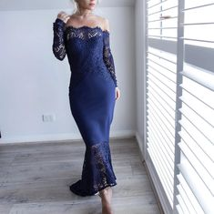 Ericdress Mermaid Off-The-Shoulder Asymmetry Lace Evening Dress 2019 Find latest women's clothing, dresses, tops, outerwear, and other fashion clothing and enjoy the worldwide shipping # Mermaid Prom Dresses Lace, Lace Party Dresses, Prom Dresses Long With Sleeves, Cheap Prom Dresses, Formal Evening Dresses, Elegant Dresses, Dress Long, Pretty Dresses, Lace Mermaid