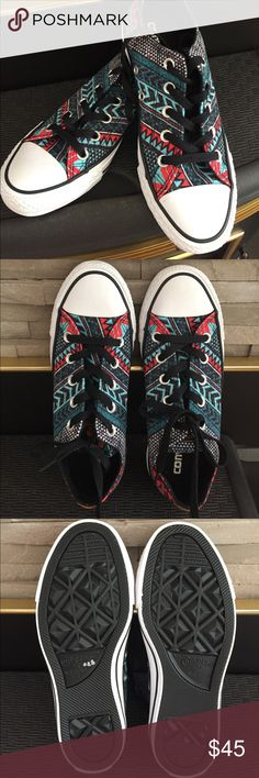 New Aztec Converse!   Beautiful NEW Aztec print Converse sneakers, never worn.  Cute print, black laces.  Comfy! Converse Shoes Sneakers