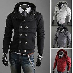 New Assassins Creed 3 Men Double Breasted Hoodie Slim Long Sleeve Coat Outerwear on Wanelo
