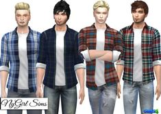 NY Girl Sims: Plaid Button Up with Tee • Sims 4 Downloads