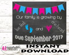 Pregnancy Announcement Photo Prop/Two Feet and One Heart/Expecting First Baby Sign/Dated September 2017/Pregnancy Chalkboard/Digital File by ALMemorableCreations on Etsy